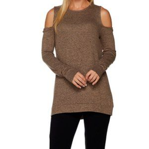 2X AnyBody Brushed Hacci Cold Shoulder Top Taupe